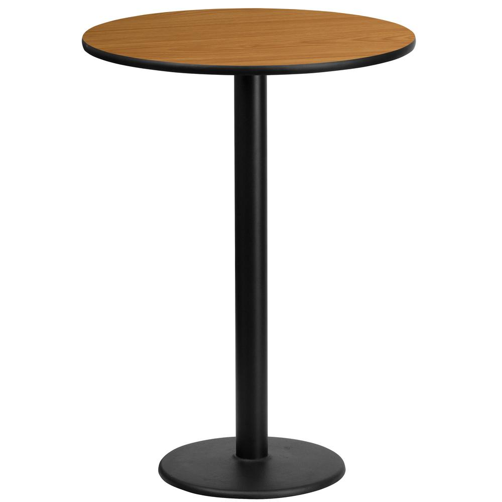 24 in. Round Black and Natural Laminate Table Top with 18 in. Round Bar Height Table Base, Black/Natural