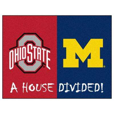 NCAA Ohio State/Michigan House Divided 3 ft. x 4 ft. Area Rug