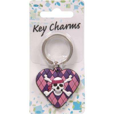 Girly Skull and Argyle Heart Key Chain (3-Pack)
