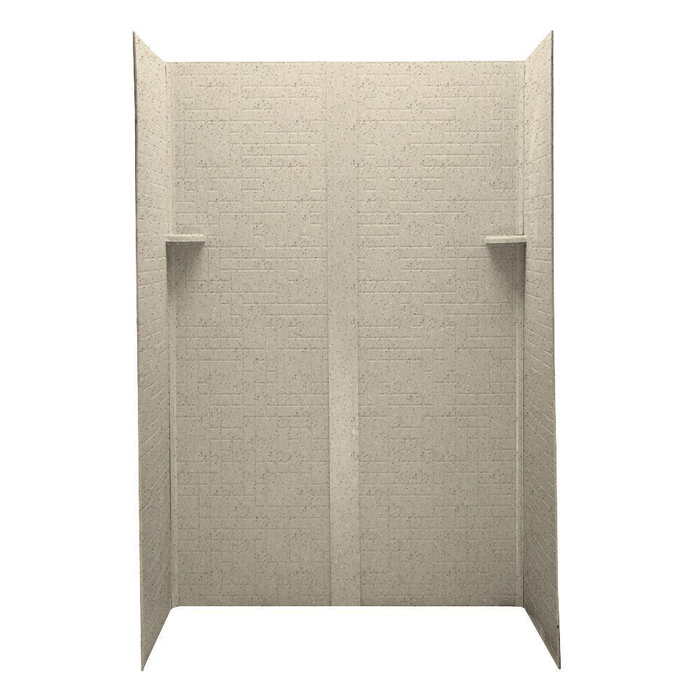 Swanstone Geometric 32 in. x 48 in. x 72 in. Five Piece Easy Up Adhesive Shower Wall Kit in Tahiti Desert-DISCONTINUED