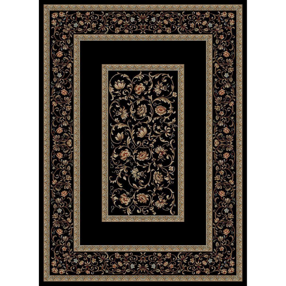 Ankara Floral Border Black 3 ft. 11 in. x 5 ft. 5 in. Area Rug