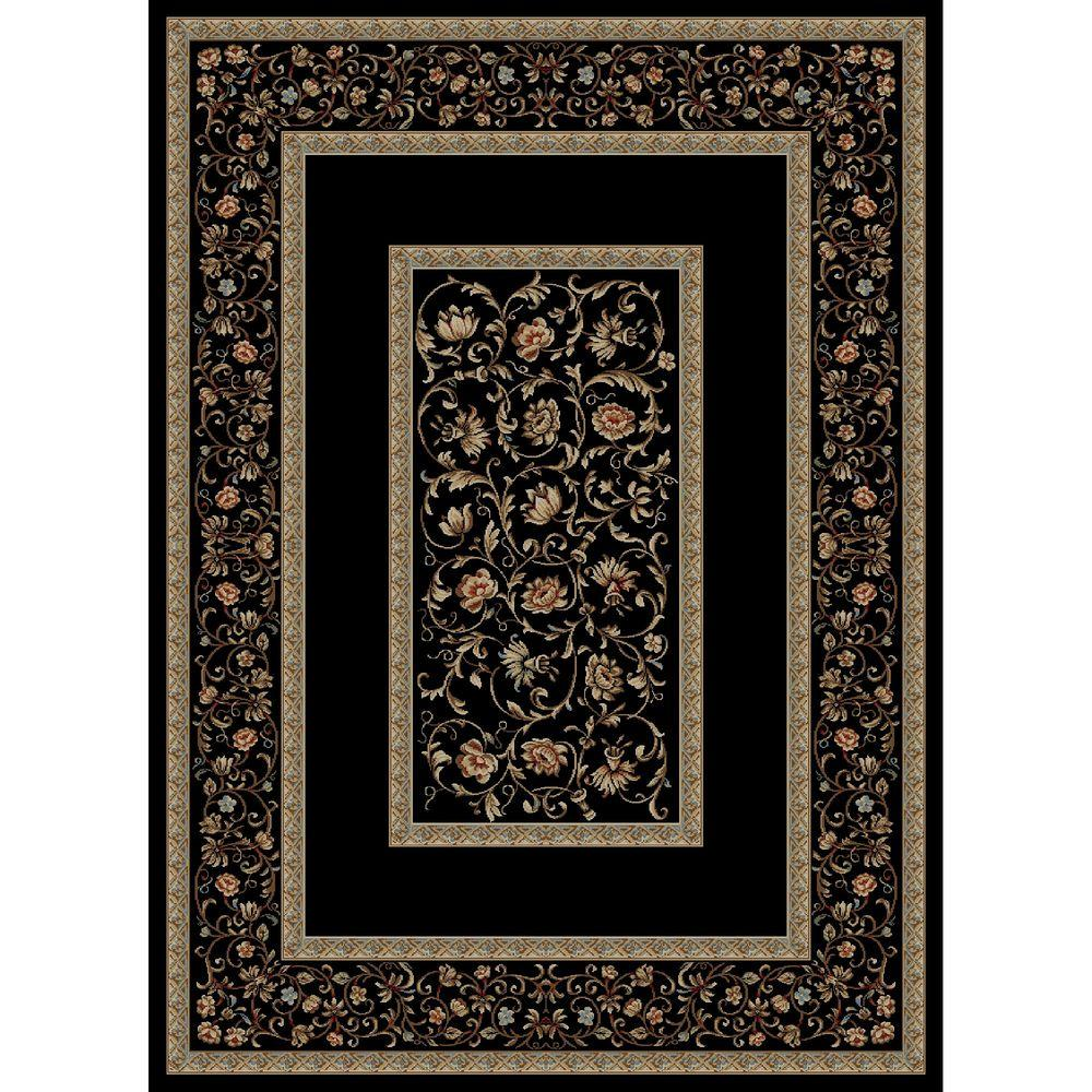 Ankara Floral Border Black 6 ft. 7 in. x 9 ft.
