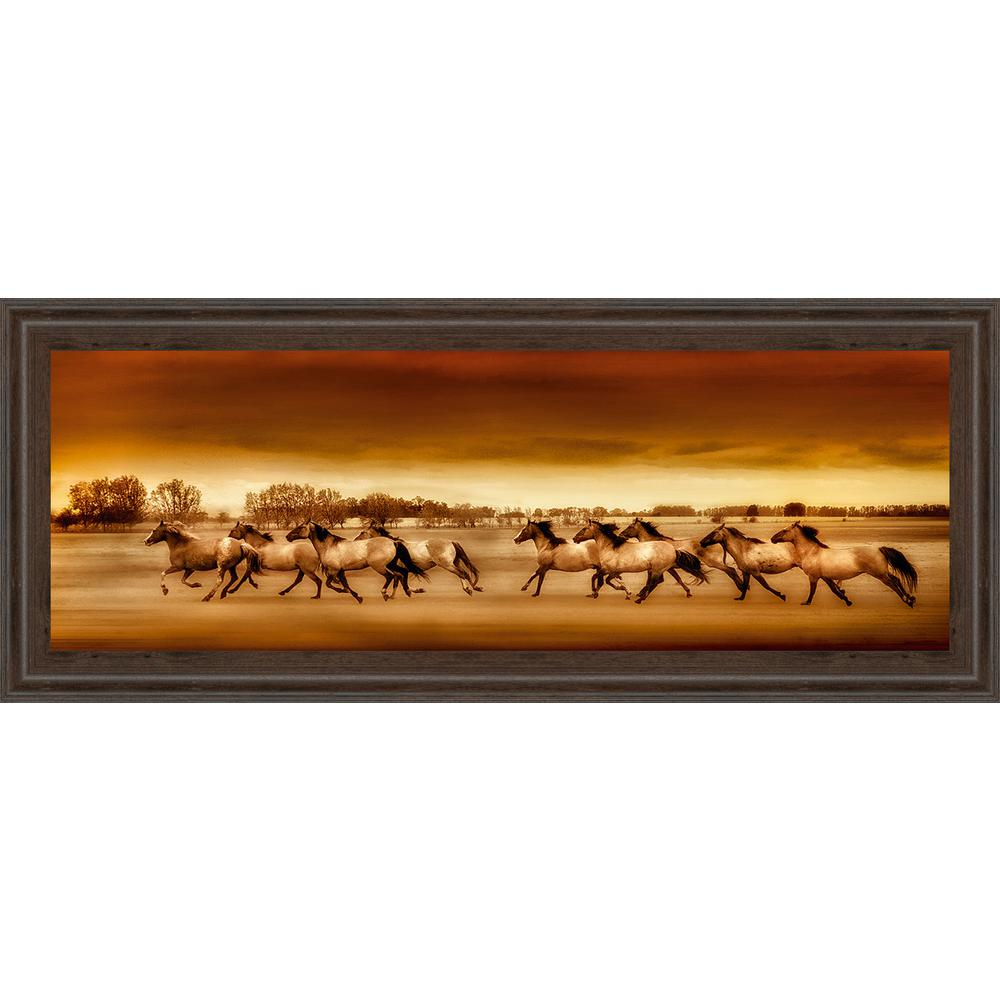 "18 in. x 42 in. ""Argentine Horses"" by Bobbie Goodrich Framed"