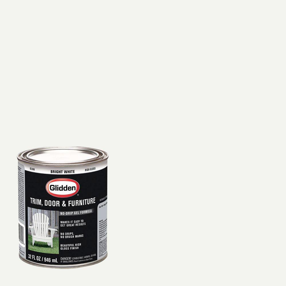 Glidden Trim and Door 1 qt. Bright White Gloss Interior/Exterior ...