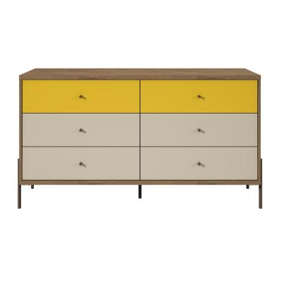 Joy 59 in. Wide 6-Drawer Yellow and Off-White Double Dresser