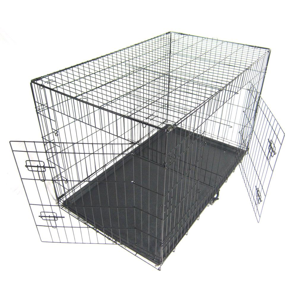 48 in. Pet Kennel Cat Dog Folding Steel Crate 1/6-Acre In-Ground