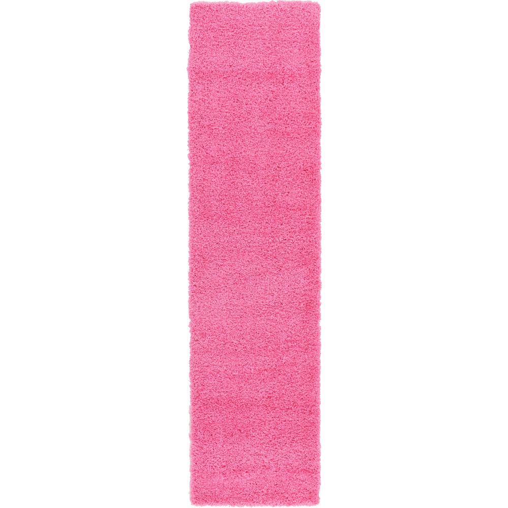 Solid Shag Taffy Pink 10 ft. Runner Rug
