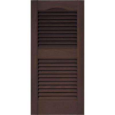 15 in. x 31 in. Louvered Vinyl Exterior Shutters Pair in #009 Federal Brown