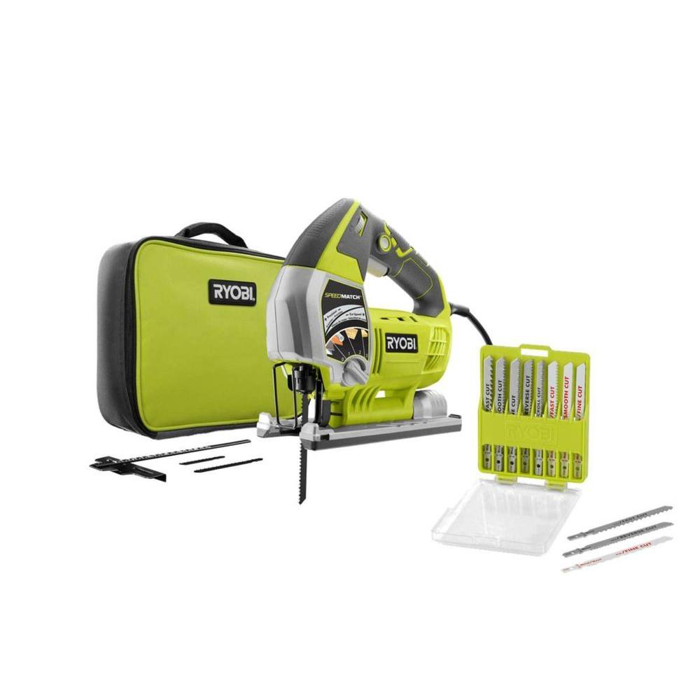 ryobi 6 1 amp variable jigsaw with 20 piece assorted jigsaw blade set rnjs651l a14ak20 the. Black Bedroom Furniture Sets. Home Design Ideas