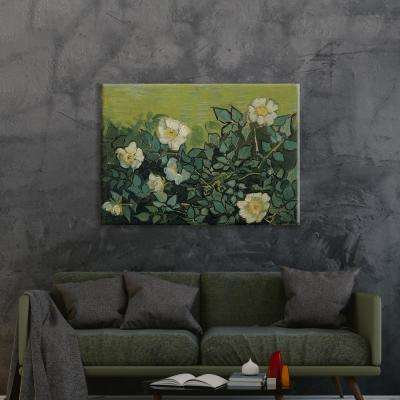 """Wild Roses"" by Vincent van Gogh Unframed Canvas Wall Art"