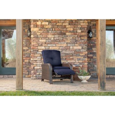 Strathmere All-Weather Wicker Reclining Patio Lounge Chair with Navy Blue Cushion