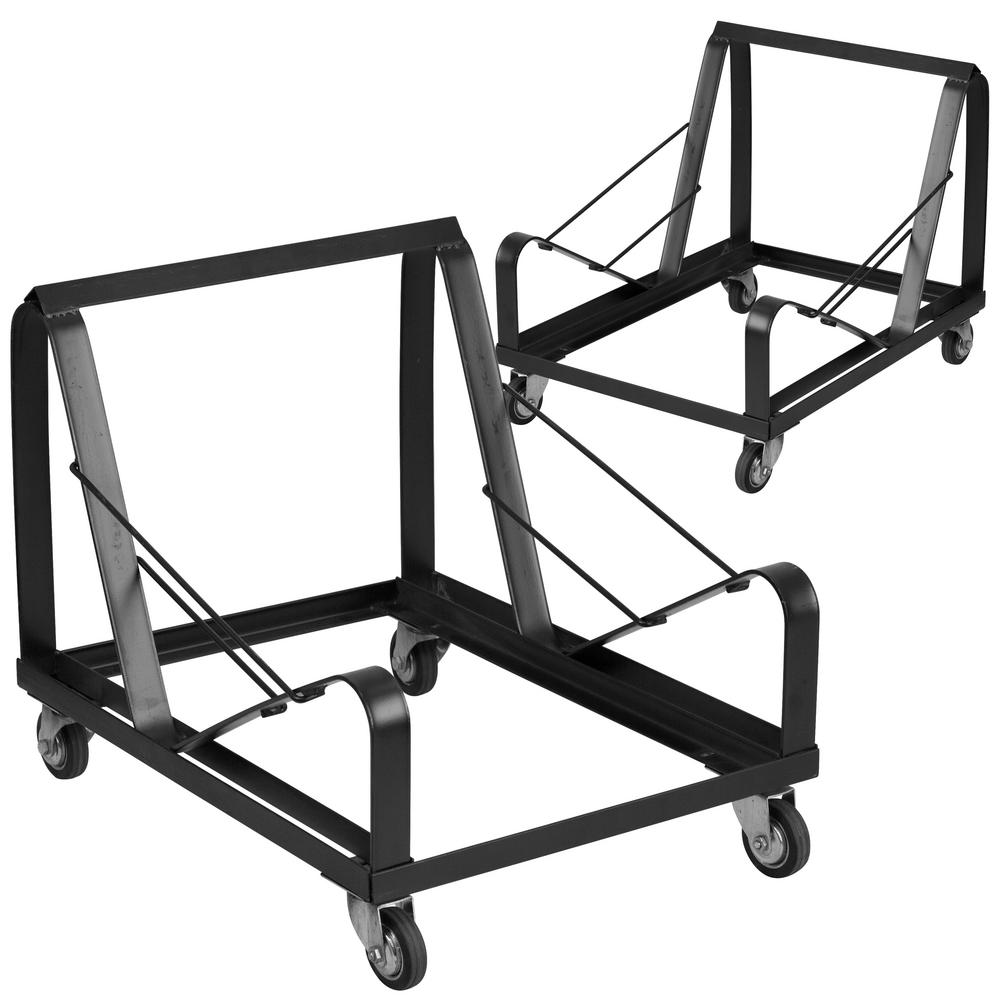 Carnegy Avenue 440 Lbs Capacity Stack Chair Dolly With Wheels Black Set Of 2 Cga Xu 207820 Bl Hd The Home Depot