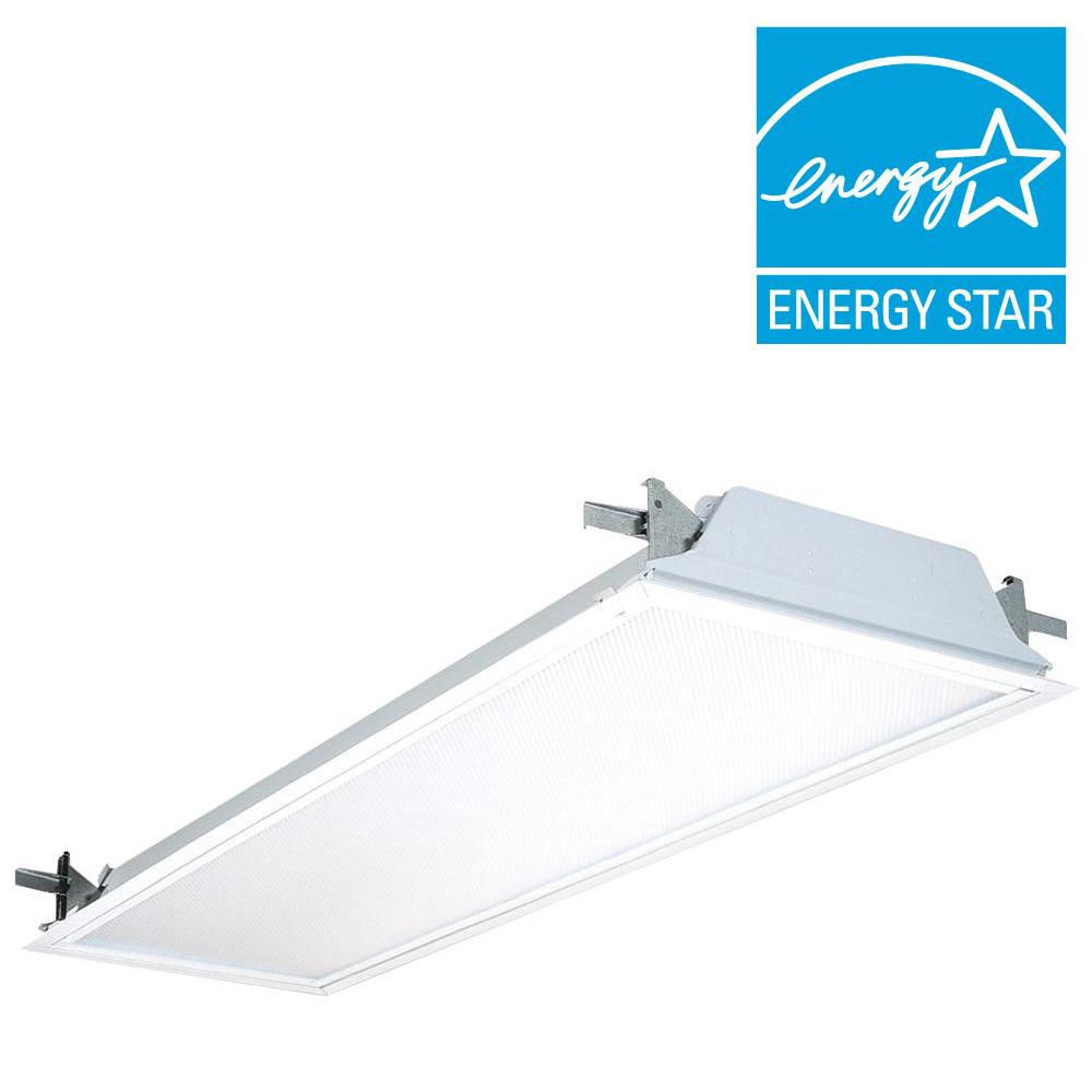 Lithonia Lighting SP8 F 2 32 A12 120 GESB 2-Light White Flanged Fluorescent Troffer