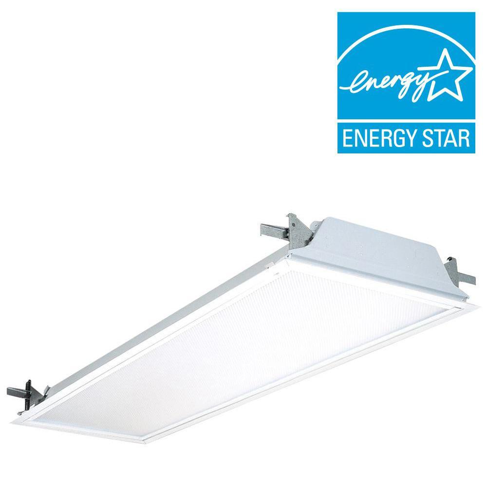 Can A Fluorescent Light Fixture Go Bad: 2-Light Flanged Troffer Ballast Drywall Ceiling Fixture