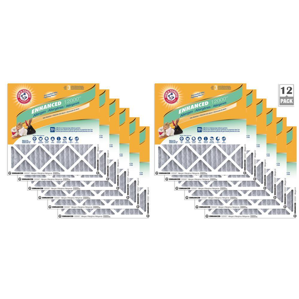 16 in. x 25 in. x 1 in. Odor Allergen and Pet Dander Control Air Filter (12-Pack)