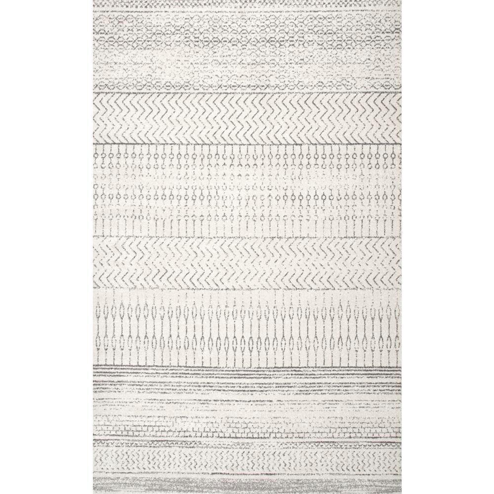 Nuloom Nova Stripes Gray 6 Ft 7 In X 9 Ft Area Rug