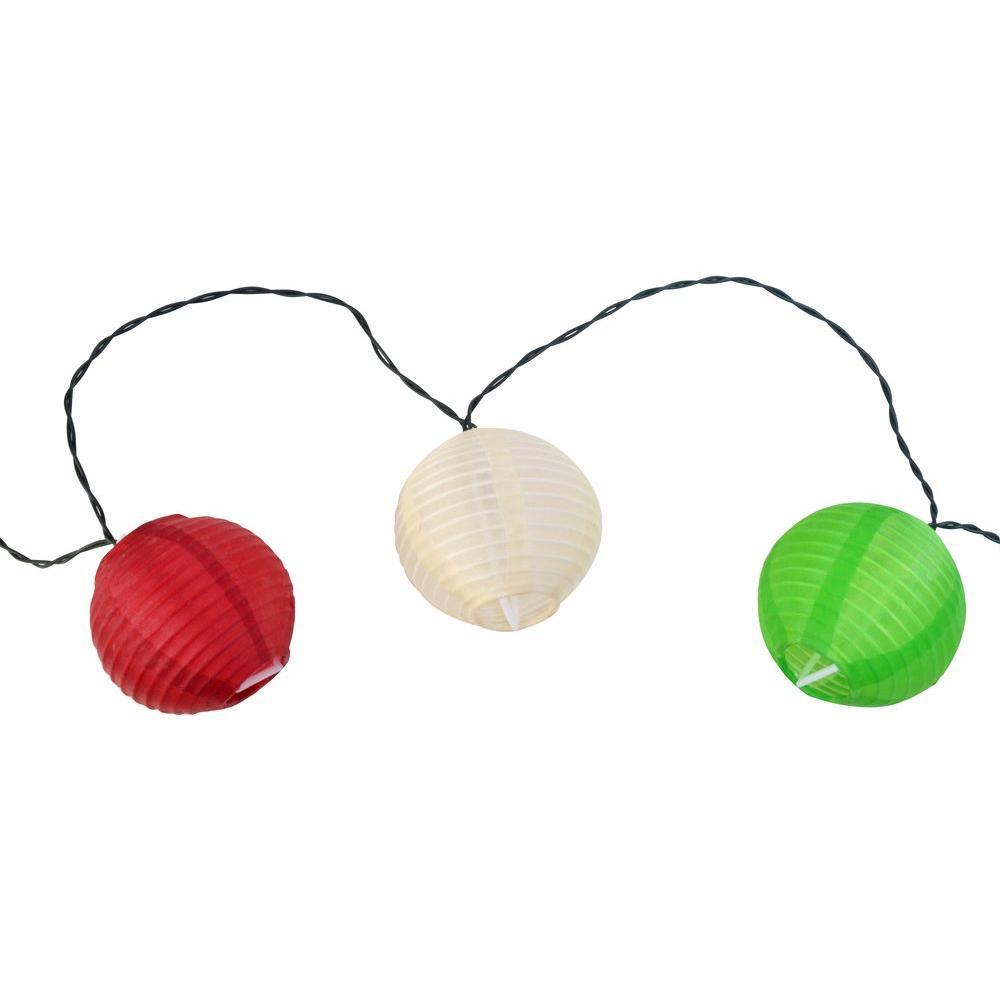 10-Light 15 ft. Solar Powered Integrated LED Oriental Lantern String Lights
