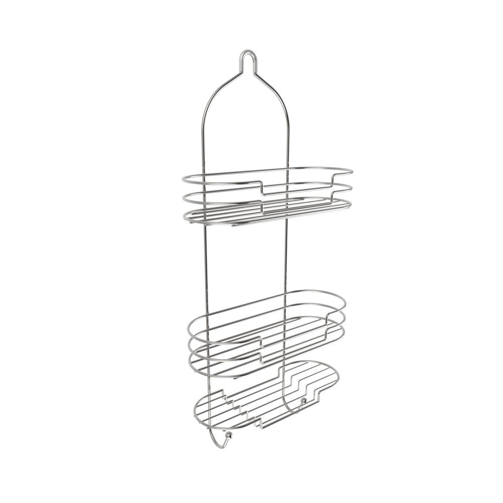 Lavish Home Hanging Tall Shower Caddy with Shelves and Hooks in ...