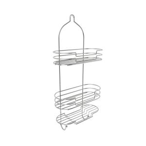 Lavish Home Hanging Tall Shower Caddy with Shelves and Hooks in Satin Finish by Lavish Home