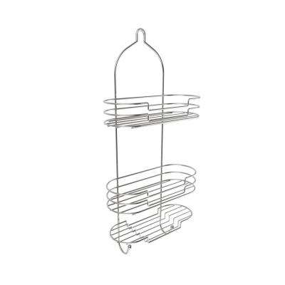 Hanging Tall Shower Caddy with Shelves and Hooks in Satin Finish