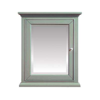 Mercer 24 in. W x 28 in. H x 7.9 in. D Surface-Mount Medicine Cabinet in Sea Green