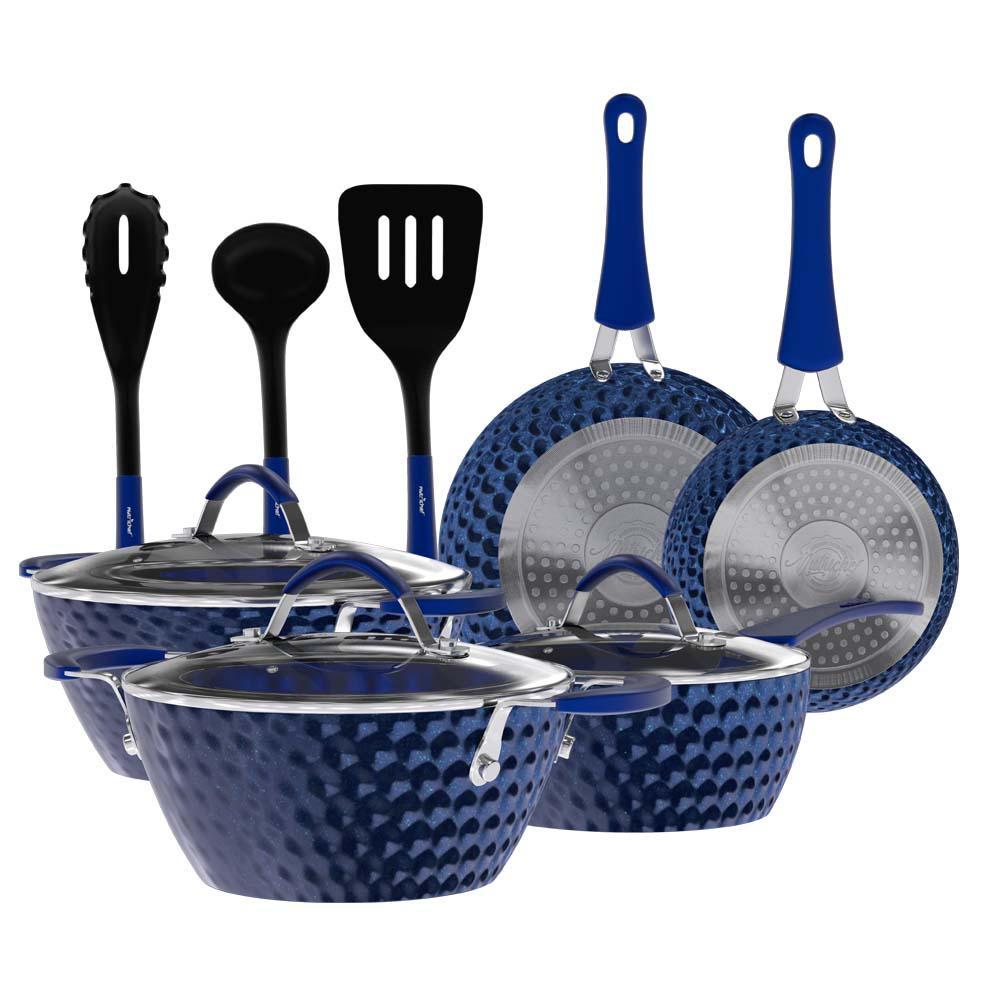 11-Piece Aluminum Non-Stick Kitchen Cookware Set with Elegant Diamond Pattern