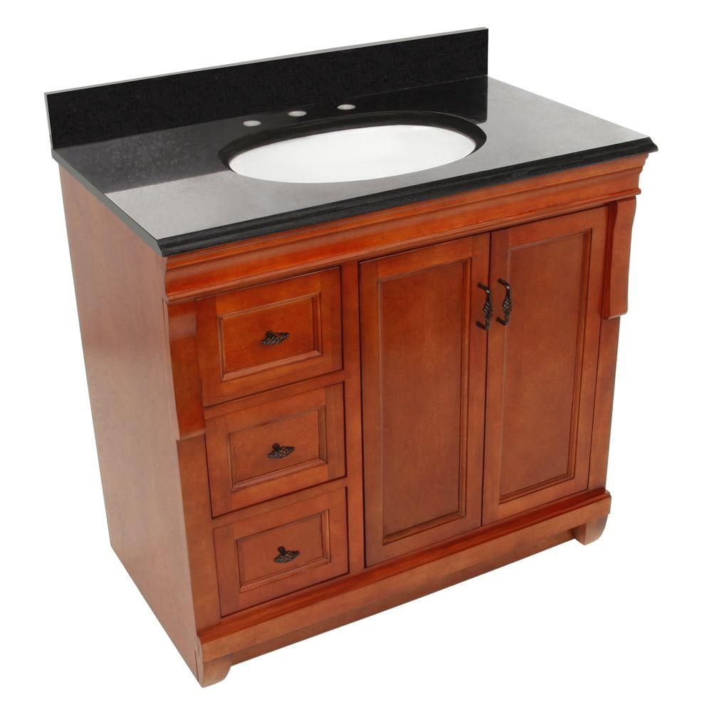Foremost Naples 37 in. W x 22 in. D Vanity with Left Drawers in Warm Cinnamon with Granite Vanity Top in Black
