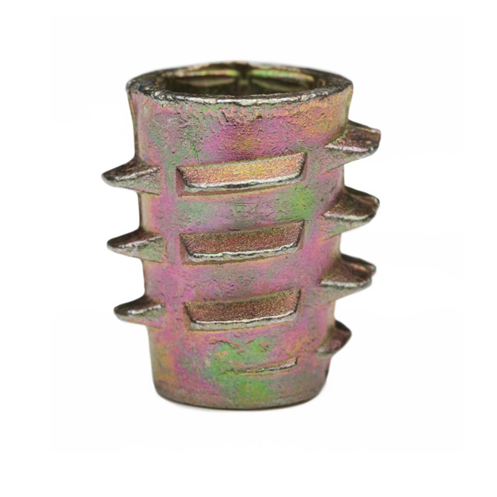 E-Z LOK Threaded Insert for Soft Wood, Hex Drive, Flush, Die Cast Zinc, 1/4 in.-20 TPI, 0.51 in. L, Yellows/Golds Hex Drive inserts are designed for use in applications such as furniture, drawer pulls, display cases, and shipping crates. Ideal for use in soft woods, like pine, plywood, composition board, and MDF. Install using a hex key/allen wrench or optional drive tool. Color: Yellows / Golds.