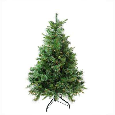4.5 ft. x 37 in. Pre-Lit Cashmere Mixed Pine Full Artificial Christmas Tree Clear Dura Lights