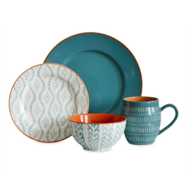 Tangiers 16-Piece Turquoise Dinnerware Set