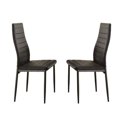 Black Bi Cast Vinyl Side Chairs with Curvy Backs (Set of 2)