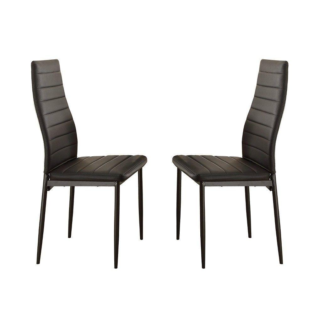 Black Bi Cast Vinyl Side Chairs with Curvy Backs (Set of 2)