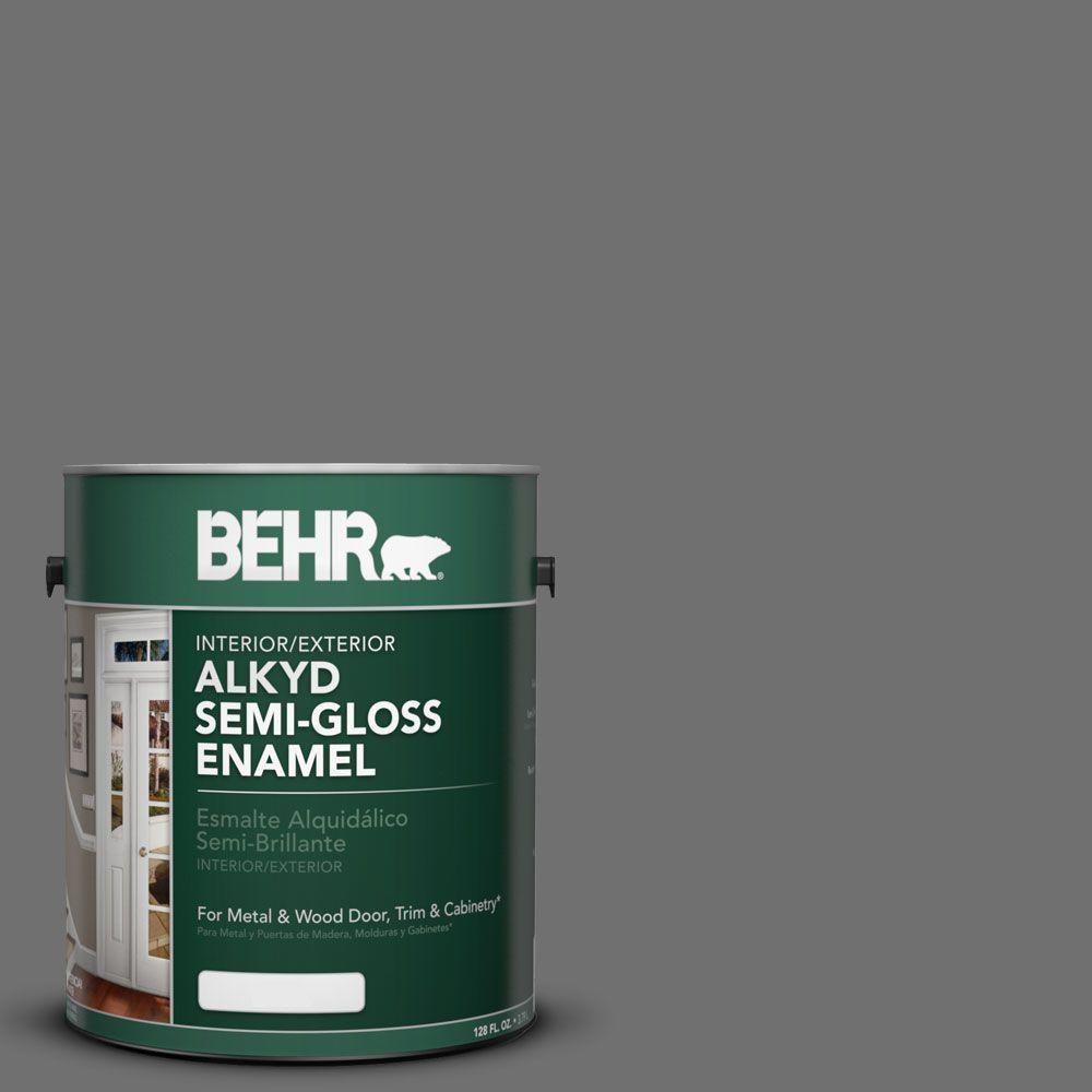 BEHR 1-gal. #AE-48 Machine Gray Semi-Gloss Enamel Alkyd Interior/Exterior Paint