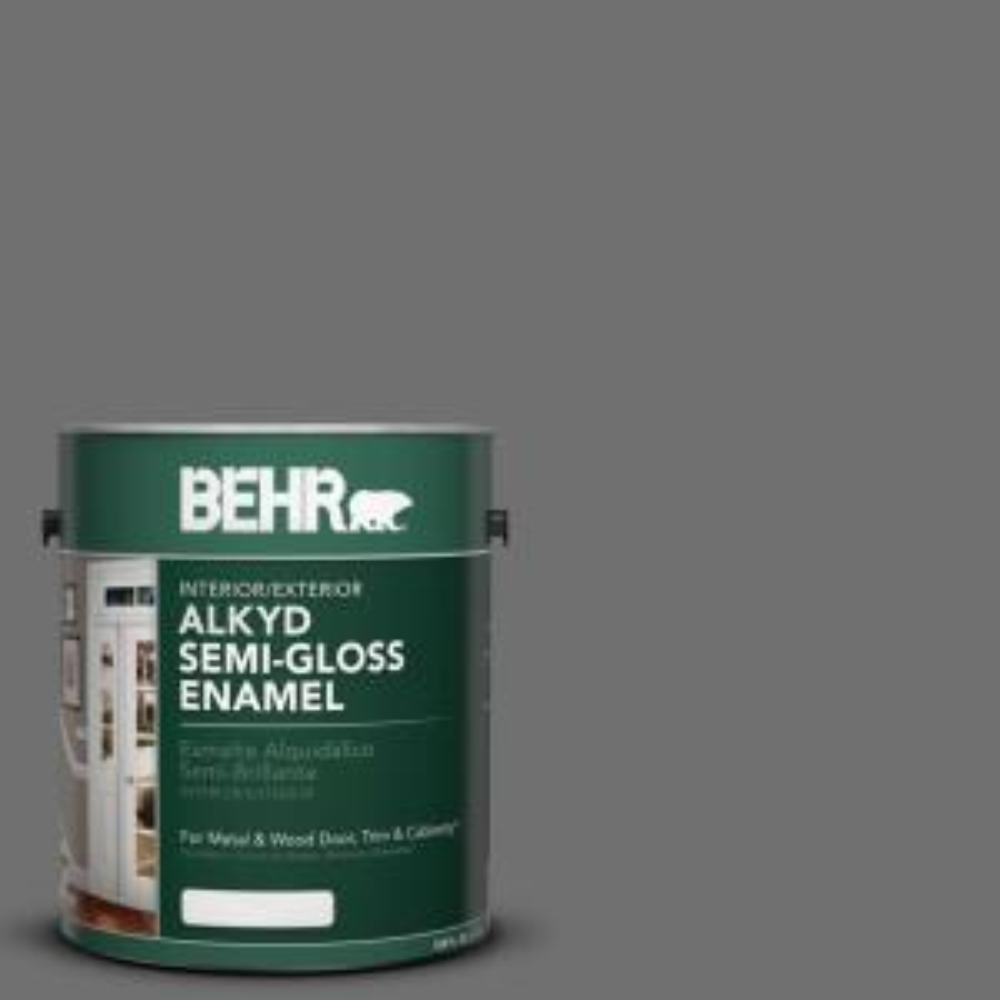 Behr 1 Gal Ae 48 Machine Gray Semi Gloss Enamel Alkyd Interior Exterior Paint 393001 The Home Depot
