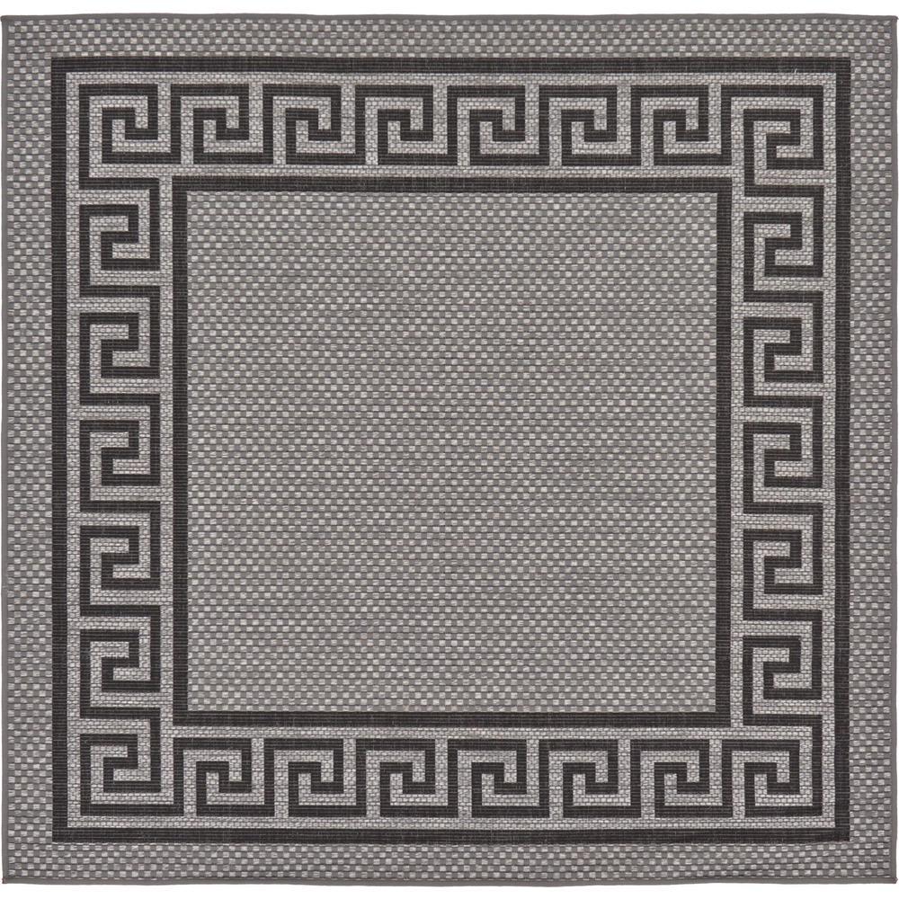 Outdoor Greek Key Gray 6' 0 x 6' 0 Square Rug