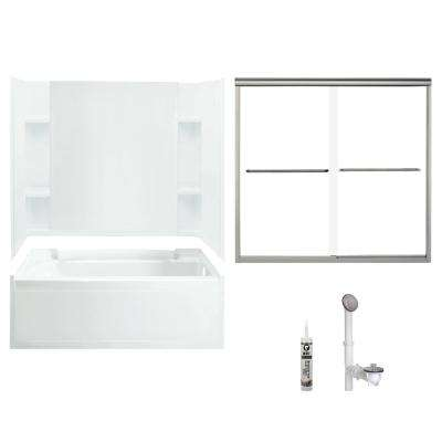 Accord 36 in. x 60 in. x 75.25 in. Bath and Shower Kit with Right-Hand Drain in White and Brushed Nickel