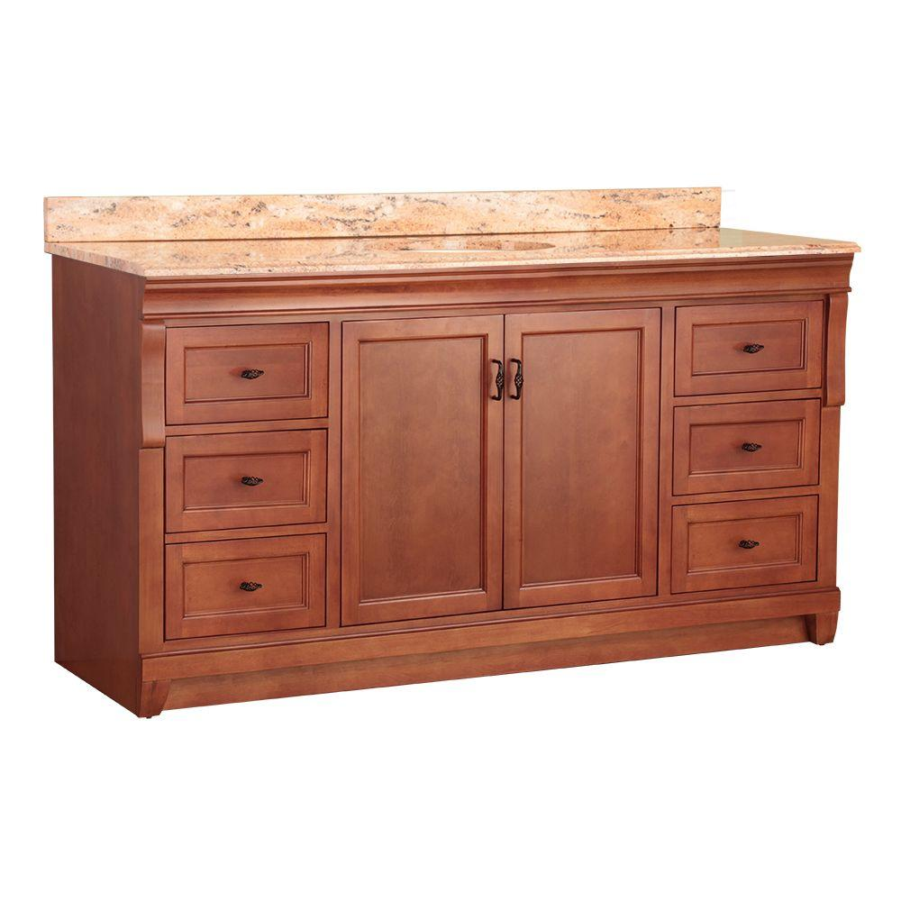 Home Decorators Collection Naples 61 in. W x 22 in. D Single Sink Vanity in Warm Cinnamon with Vanity Top and Stone Effects in Bordeaux