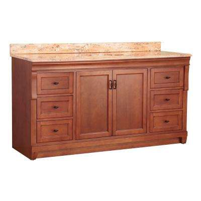 Naples 61 in. W x 22 in. D Single Sink Vanity in Warm Cinnamon with Vanity Top and Stone Effects in Bordeaux
