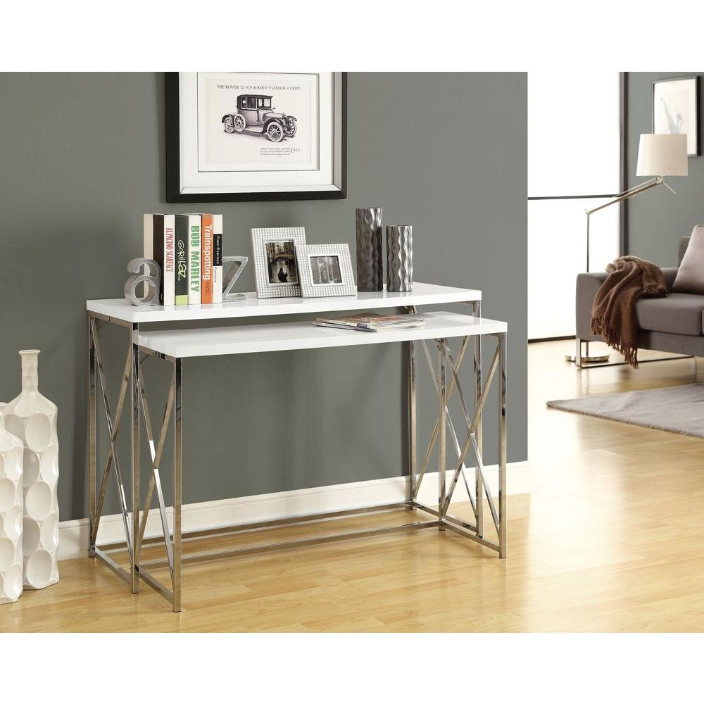 Monarch Specialties Glossy White 2 Piece Nesting Console Table I 3027   The  Home Depot