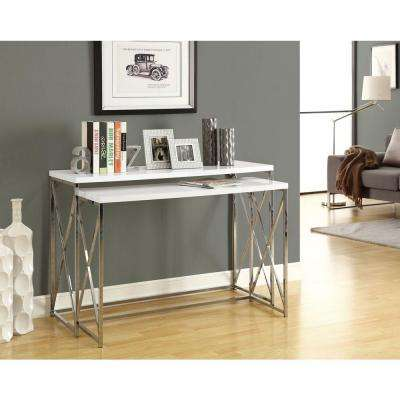 Glossy White 2-Piece Nesting Console Table