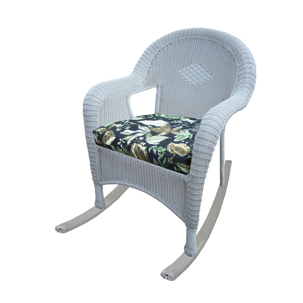 white wicker outdoor rocker with black floral cushion 2 pack hd90031 r bf wt the home depot. Black Bedroom Furniture Sets. Home Design Ideas