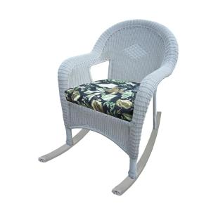 White Wicker Outdoor Rocker with Black Floral Cushion (2-Pack) by