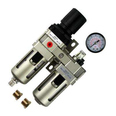 3/8 in. Filter Regulator Lubricator 3-in-1 Combo with Gauge