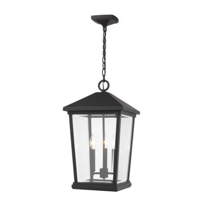3-Light Oil Rubbed Bronze Outdoor Pendant Light with Clear Beveled Glass Shade
