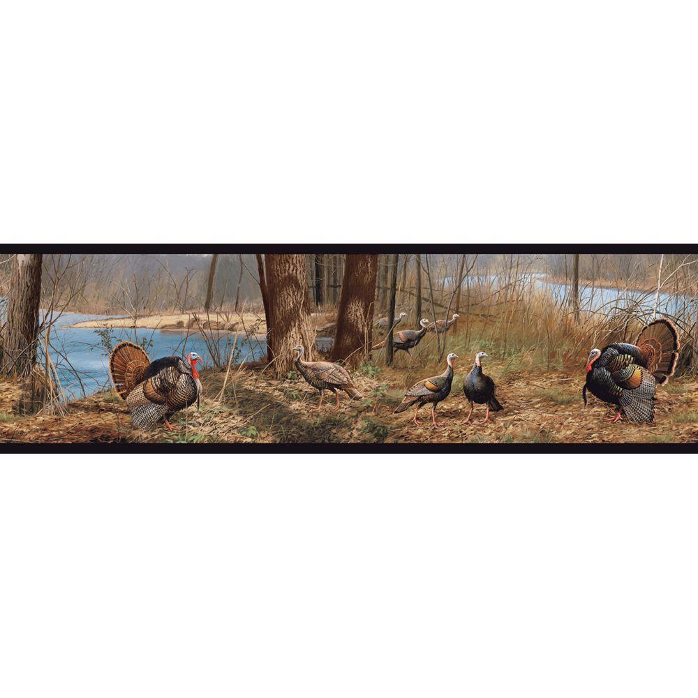 Lake Forest Lodge Turkey Wallpaper Border