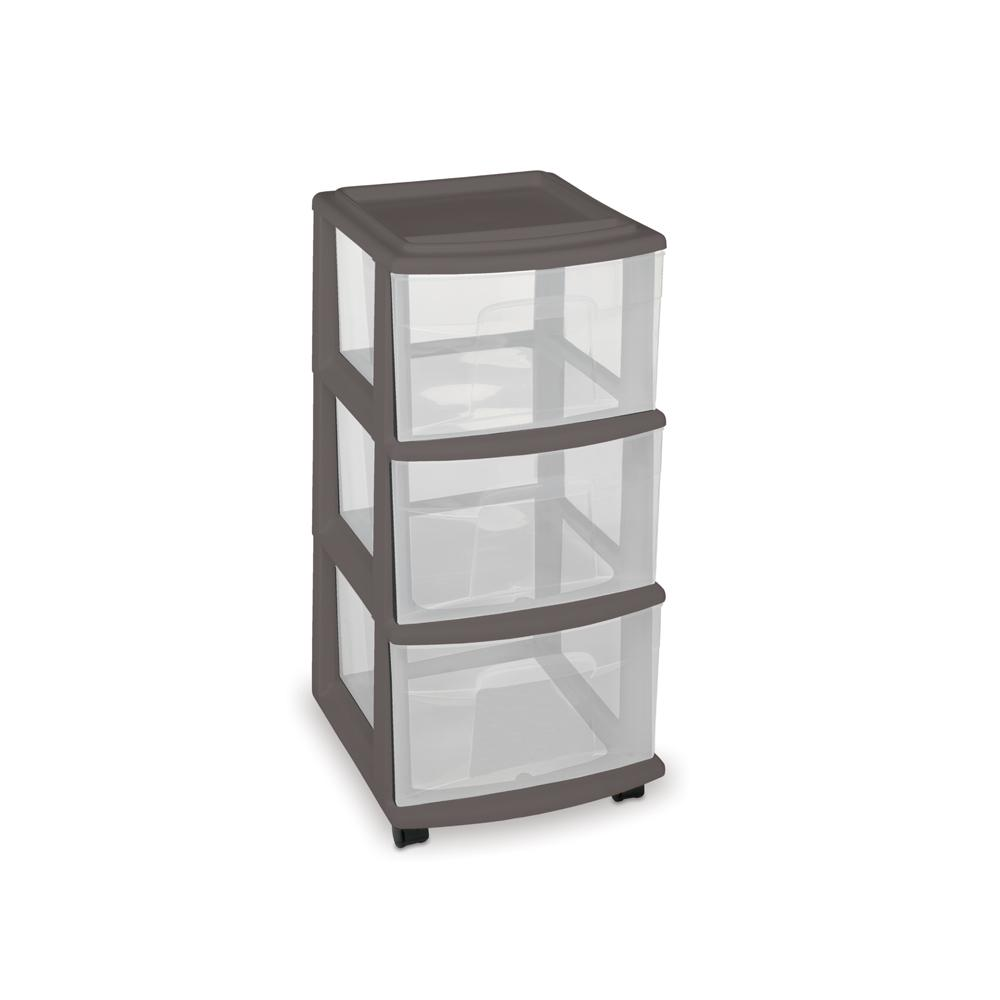 HOMZ 25.5 in. x 14.25 in. 3-Drawer Medium Cart in Gray with Wheels (Set of 3)