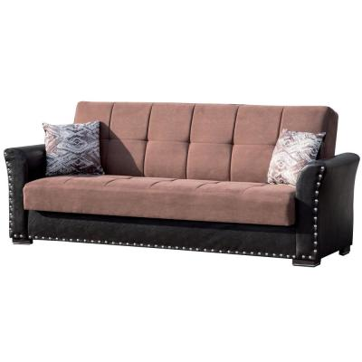 Diva 36 in. Brown Chenille 3-Seater Full Sleeper Sofa Bed with Storage