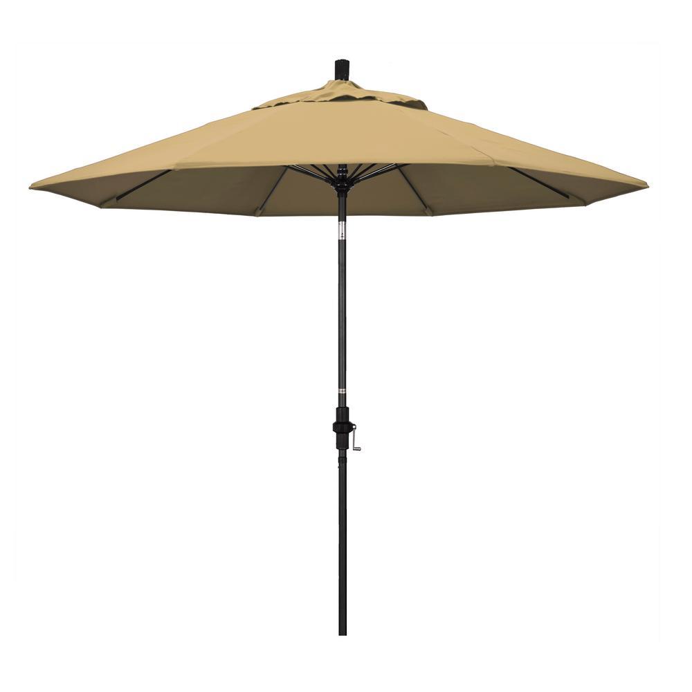 9 ft. Matted Black Fiberglass Market Patio Umbrella Collar Tilt in Champagne Olefin