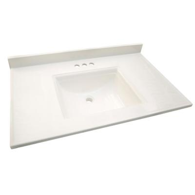 Camilla 61 in. Cultured Marble Vanity Top in Solid White with Basin