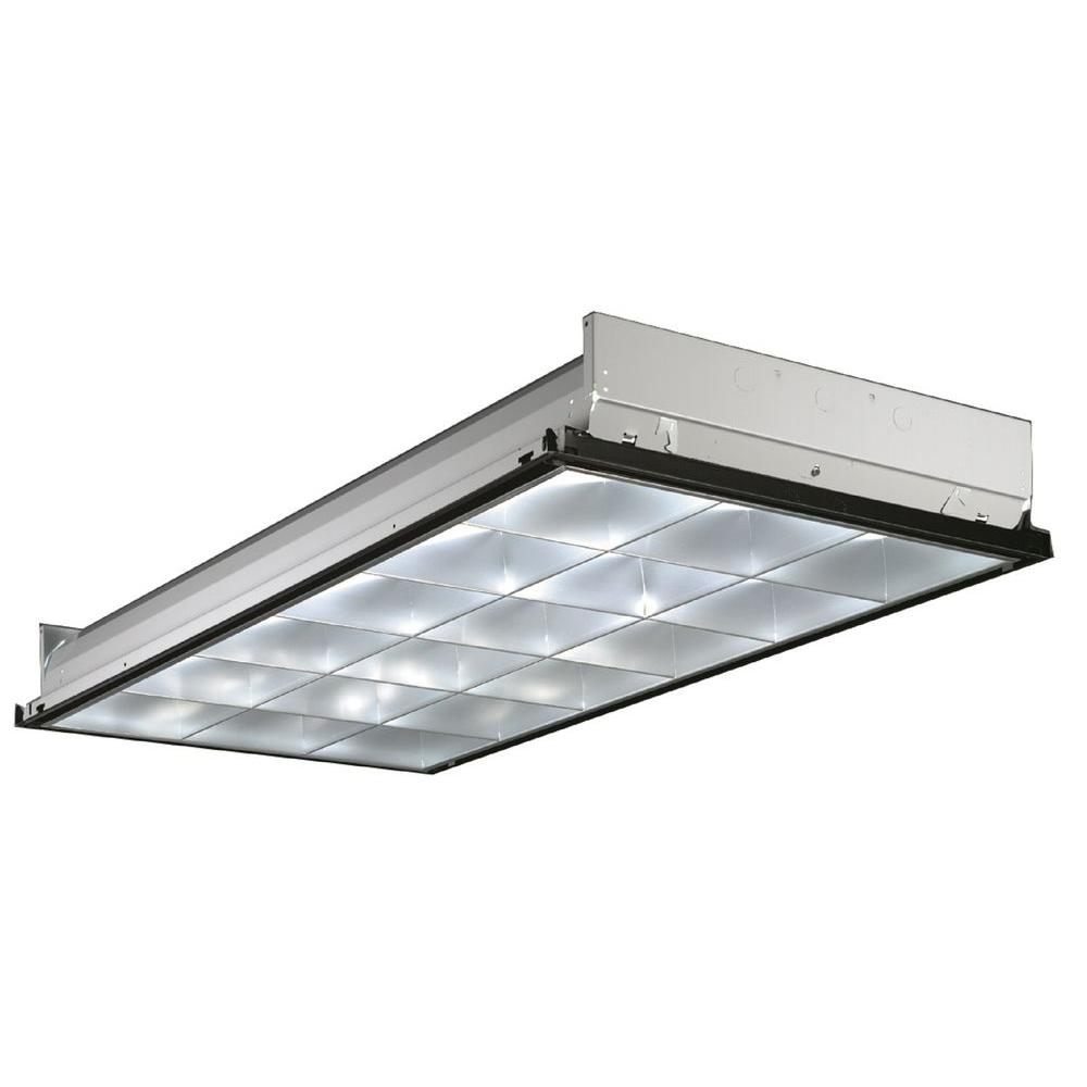 Lithonia 2 ft. x 4 ft. 3-Light Silver Multi-Volt T8 Fluor...